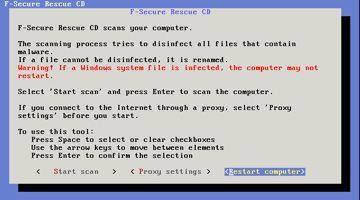 F-Secure Rescue CD: não é bonito, mas funciona bem
